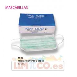 Mascarilla facial verde 3 capas