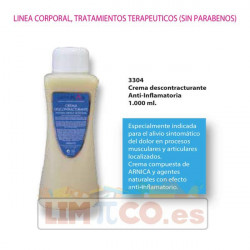 Crema descontracturante Anti-Inflamatoria (natural con Arnica)- 1.000 ml