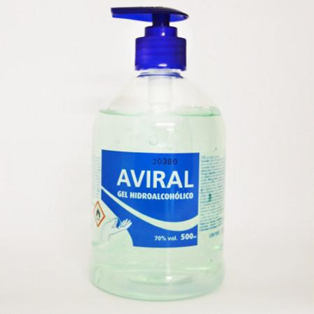 AVIRAL GEL HIDROALCOHOLICO 500ML 15U